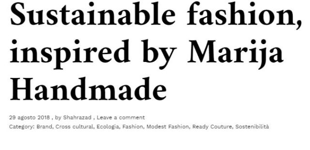Sustainable fashion, inspired by Marija Handmade
